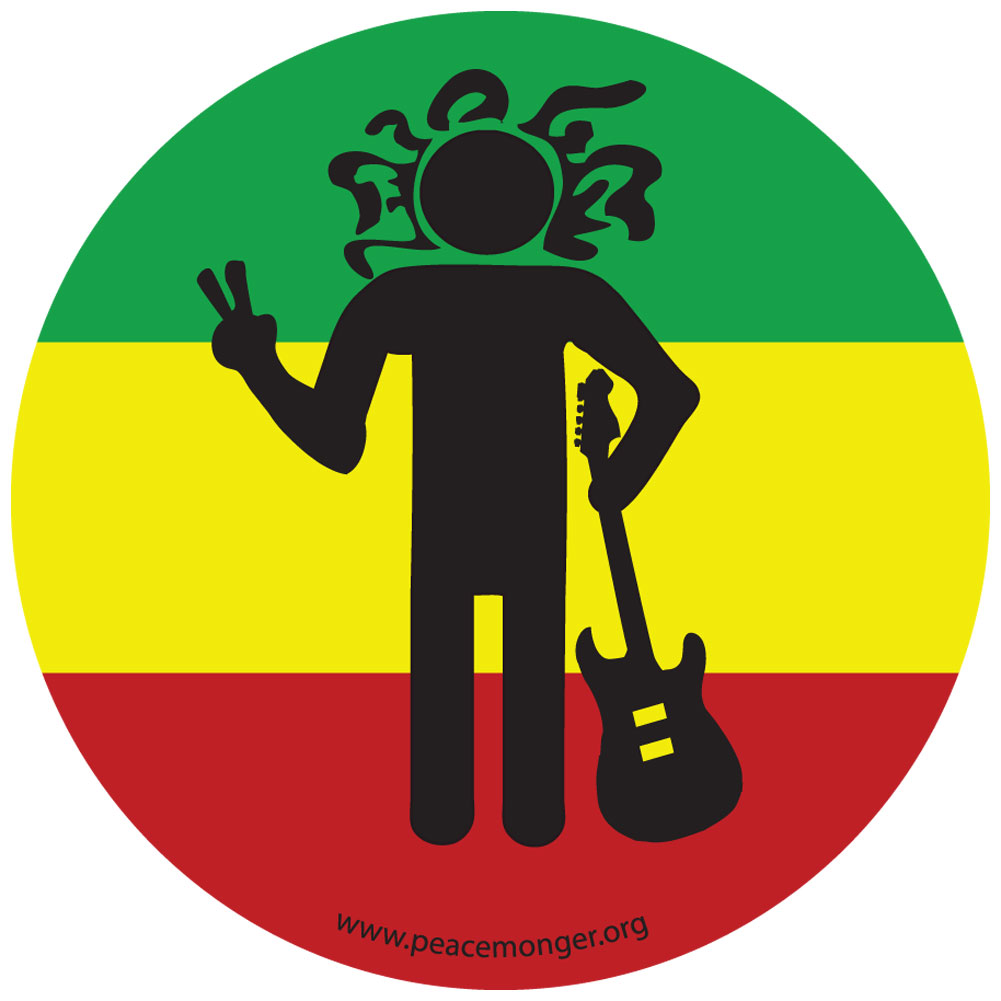 Cm018 rasta man peace sign color mini sticker