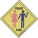 CM019 - Peace Xing Peace Activists Crossing Road Sign Mini Sticker