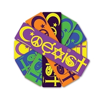 CM049 - Coexist in Colors Interfaith Symbol Color Mini Sticker