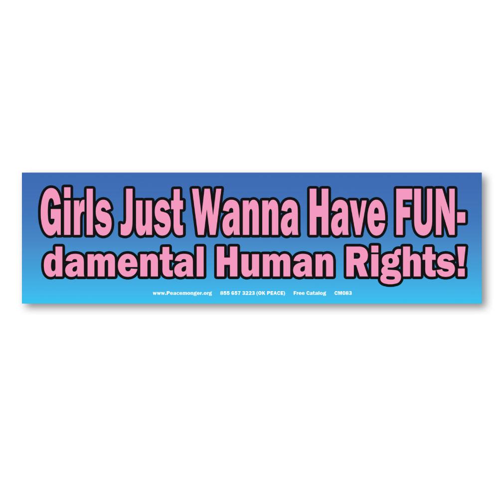 Cm083 Girls Just Wanna Have Fundamental Human Rights Mini Sticker Decal
