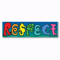 CM276  RESPECT Sea Life Ocean Animals Octopus Dolphins Sharks Mini Rainbow Bumper Sticker