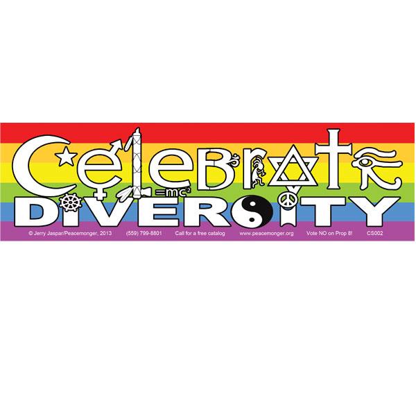 celebrate diversity in symbols rainbow full color bumper sticker
