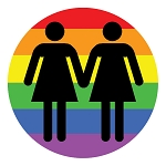 CM011 - Lesbian Love LGBT Rights Rainbow Full Color Mini Sticker