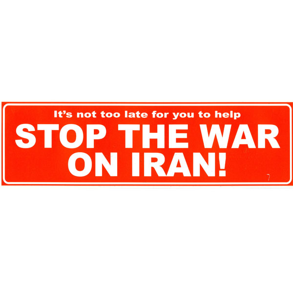 Cs020 stop war on iran large full color bumper sticker