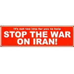 CS020 - Stop War on Iran Large Full Color Bumper Sticker