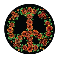 CS091 - Rose Peace Symbol Color Bumper Sticker