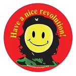 CS114 - Have a Nice Revolution Che Smiley Round Color Sticker