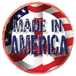 CS117 - Made In America American Flag Peace Sign Full Color Large Round Bumper Sticker