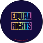 CS118 - Equal Rights Rainbow Equal Sign Full Color Round Bumper Sticker