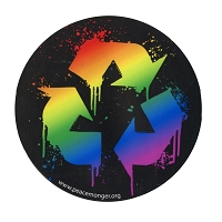 CS112 - Recycle Splatter Rainbow Round Color Sticker