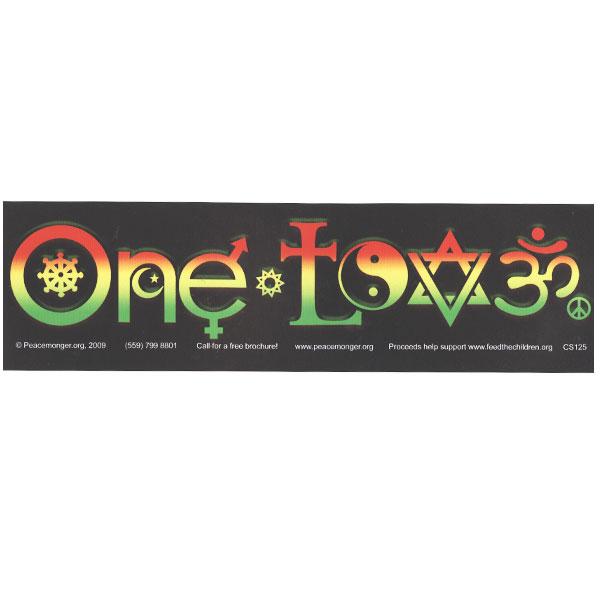 One Love Symbols Rasta Full Color Bumper Sticker