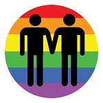 CM012 - Gay Love LGBT Rights Rainbow Round Mini Sticker