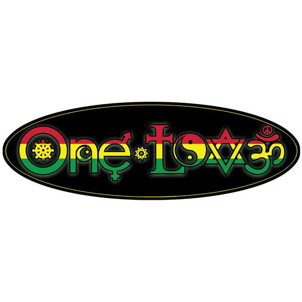 One Love Interfaith Symbols Rasta Oval Color Mini Sticker