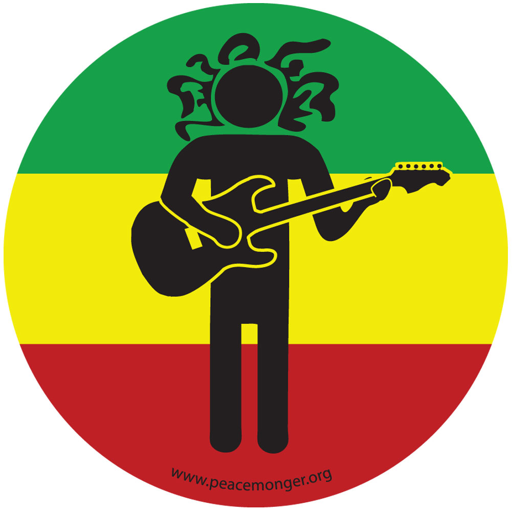 Rastafarian 2: Rasta Man Guitar Full Color Sticker