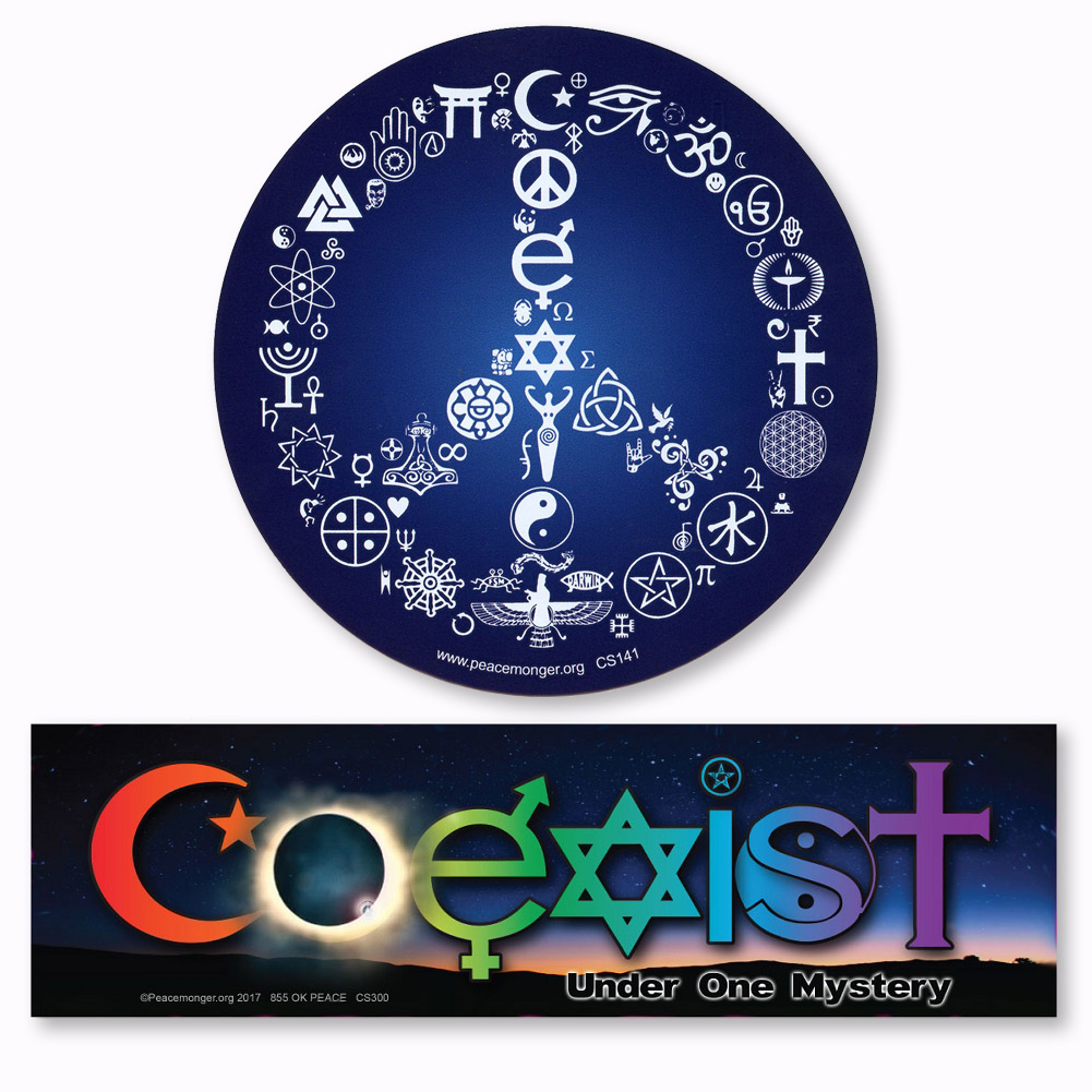Cs141 cs300 coexist peace symbol and coeclipse under one mystery sticker 2 pack