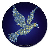 CS142 - Coexist Peace Dove Interfaith Round Color Sticker