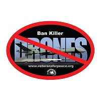CS144 - Ban Killer Drones Oval Color Bumper Sticker