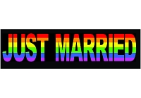 CS161 Just Married Rainbow Gay Marriage Pride Color Bumper Magnet Sticker
