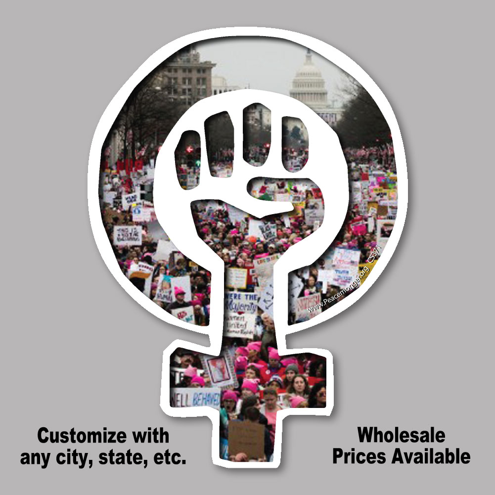 Cs371 Woman Power Symbol Womens March Protest Cut Out Sticker Decal