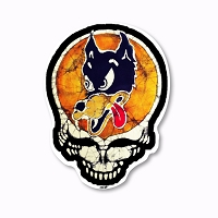 CS399 Kats Creations Batik Irwin Wolf Steal Your Face Grateful Dead Color Sticker