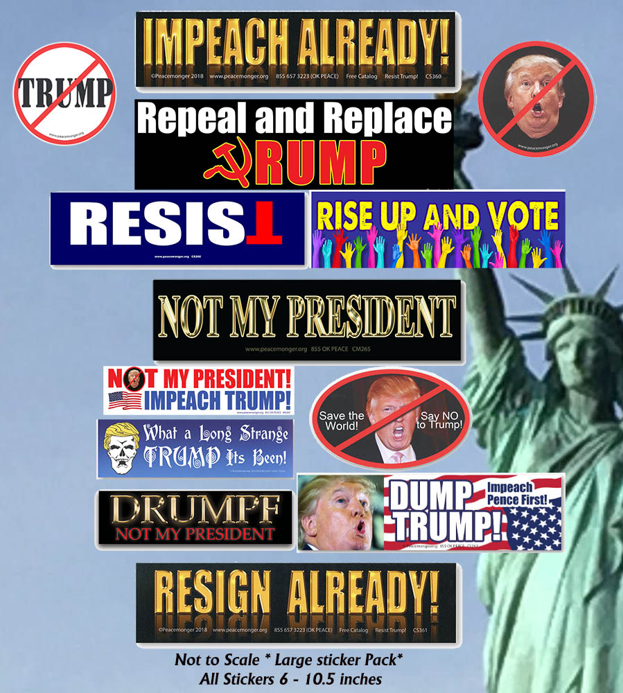 CS462 - IMPEACH DONALD TRUMP 13 Large Sticker Pack -  IMPEACHMENT HEARINGS NOT MY PRESIDENT