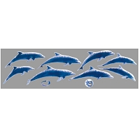 A265 - Blue Multiple Dolphins Window Sticker