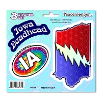 DS015 Iowa Deadhead SYF Lightning Bolt Grateful Dead 3 Sticker Set