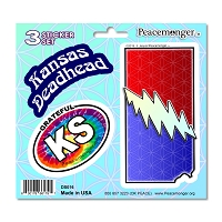 DS016 Kansas Deadhead SYF Lightning Bolt Grateful Dead 3 Sticker Set