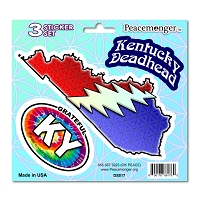 DS017 Kentucky Deadhead SYF Lightning Bolt Grateful Dead 3 Sticker Set