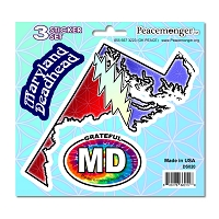 DS020 Maryland Deadhead SYF Lightning Bolt Grateful Dead 3 Sticker Set