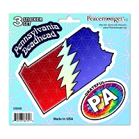 DS038 Pennsylvania Deadhead SYF Lightning Bolt Grateful Dead 3 Sticker Set