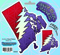 DS039 Rhode Island State Deadhead SYF Lightning Bolt Decal Grateful Dead 3 Sticker Set