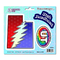 DS044 Utah Deadhead SYF Lightning Bolt Grateful Dead 3 Sticker Set