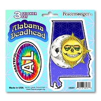 DS051 Alabama Deadhead Skeleton Sun Moon Grateful Dead State 3 Sticker Set