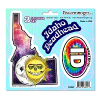 DS062 Grateful Idaho Deadhead Skeleton Sun Moon Dead State 3 Sticker Set