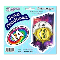 DS065 Grateful Iowa Deadhead Skeleton Sun Decal Dead State 3 Sticker Set