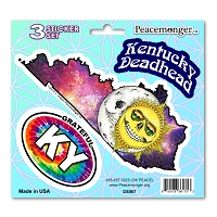DS067 Kentucky Deadhead Skeleton Sun Moon Grateful Dead State 3 Sticker Set
