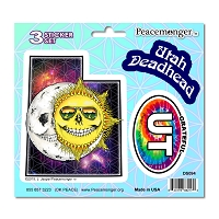 DS094 Utah Deadhead Skeleton Sun Moon Grateful Dead State 3 Sticker Set