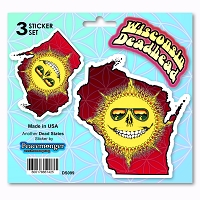 DS099 Grateful Wisconsin Deadhead State Skeleton Sun Decal Dead State 3 Sticker Set