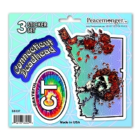 DS107 Connecticut Deadhead Bertha Skeleton Roses Grateful Dead State 3 Sticker Set