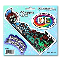 DS108 Delaware Deadhead Bertha Skeleton Roses Grateful Dead State 3 Sticker Set