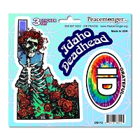 DS112 Idaho Deadhead Bertha Skeleton Roses Grateful Dead 3 Sticker Set