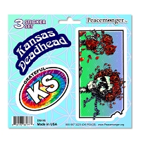 DS116 Kansas Deadhead Bertha Skeleton Roses Grateful Dead 3 Sticker Set