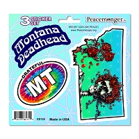 DS126 Montana Deadhead Bertha Skeleton Roses Grateful Dead 3 Sticker Set