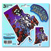 DS139 Rhode Island Deadhead State Bertha Skeleton Roses Grateful Dead 3 Sticker Set