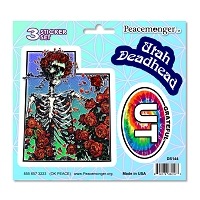 DS144 Utah Deadhead Bertha Skeleton Roses Grateful Dead 3 Sticker Set