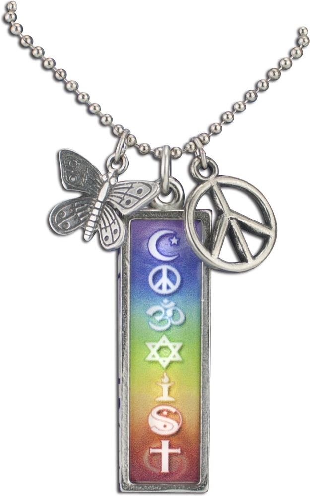 J216 c coexist chakras with peace charms rainbow pendant on ball chain j216 c coexist rainbow chakras resin cast pendant with peace charms on ball chain aloadofball Images