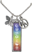 J216-Vert Coexist Rainbow Chakras Resin Cast Pendant with Peace Charms on Ball Chain