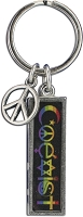 J229 - Coexist Rainbow Interfaith Resin Cast Pendant with Peace Charm Keychain Key Ring