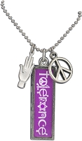 J219 - Tolerance Interfaith Resin Cast Pendant with Peace Symbol Charms and Ball Chain